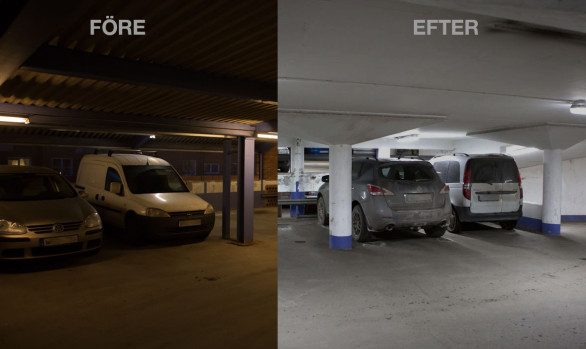 Smart LED-belysning i Greenparks parkeringsgarage